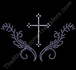 Cross - with 3 Points on Ends and Scrolls - Rhinestone Transfer