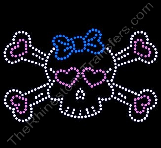 Skull and Crossbones - with Blue Bow and Pink Hearts - Rhinestone Design File Download