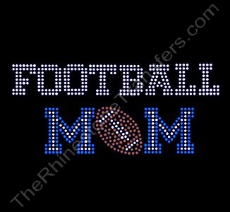 FOOTBALL MOM - with Football - Varsity Font - Blue - Rhinestone Transfer