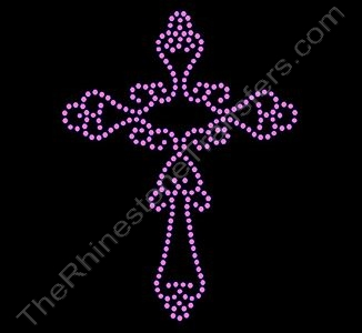 Cross - with Swirls - Pink - Rhinestone Transfer