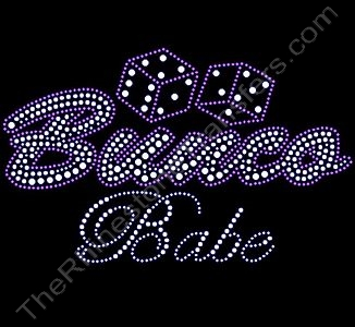Bunco Babe with Dice - Pink - Rhinestone Transfer