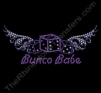 Bunco Babe with Wings - Rhinestone Transfer