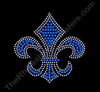 Fleur de Lis - 3.7 Inches - Blue and Clear - Rhinestone Transfer