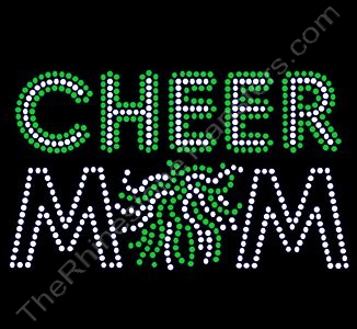 CHEER MOM - with Pom - Clear with Green Highlights - Rhinestone Transfer