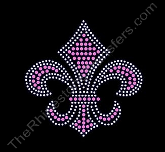 Fleur de Lis - 3.7 Inches - Pink and Clear - Rhinestone Transfer