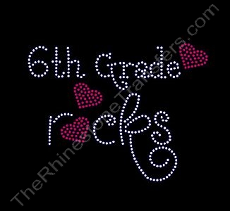 Rocks with Red Hearts - 6th Grade rocks - Rhinestone Transfer