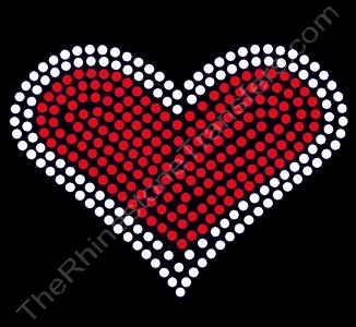 Heart - 2.5 Inches Wide - Red with Clear Outline - Rhinestone Transfer