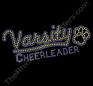 Varsity CHEERLEADER - with Paw Print - Citrine and Clear - Rhinestone Transfer