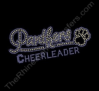 Panthers CHEERLEADER - with Paw Print - Small - Lt. Topaz - Rhinestone Transfer