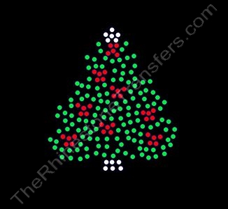Christmas Tree with Red Bows - Small - Rhinestone Transfer