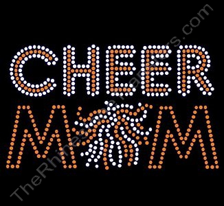 CHEER MOM - with Pom - Orange with Crystal (Clear) Highlights - Rhinestone Transfer