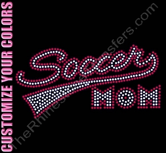 Retro Soccer MOM - CUSTOMIZE YOUR COLORS - Rhinestone Transfer