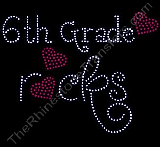 Rocks with Red Hearts - 6th Grade rocks - LARGE - Rhinestone Transfer