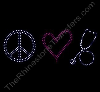 Peace Heart Stethoscope - Rhinestone Transfer