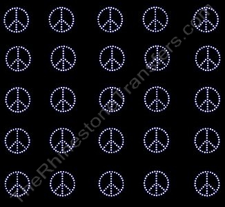 Petite Peace Sign - 1 Inch (25 per Sheet) - Rhinestone Transfer