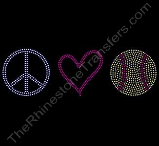 Peace Heart Softball - Rhinestone Transfer