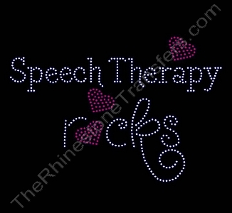 Rocks with Red Hearts - Speech Therapy rocks - LARGE - Rhinestone Transfer