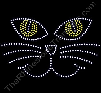 Cat Face - Rhinestone Transfer