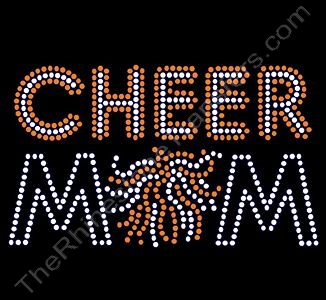 CHEER MOM - with Pom - Clear with Orange Highlights - Rhinestone Transfer