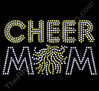 CHEER MOM - with Pom - Clear with Citrine Highlights - Rhinestone Transfer