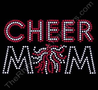 CHEER MOM - with Pom - Clear with Red Highlights - Rhinestone Transfer