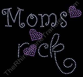 Rocks with Pink Hearts - Moms rock - Rhinestone Transfer