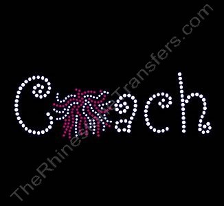 Coach - Curlz Font - with Red Pom for O - Rhinestone Transfer