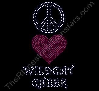 Peace Sign Heart WILDCAT CHEER - Rhinestone Transfer