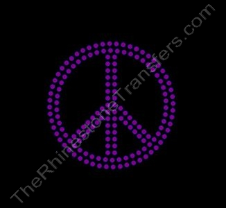 Peace Sign - 2 Inches - 2 Rows of Stones - Amethyst - Rhinestone Transfer