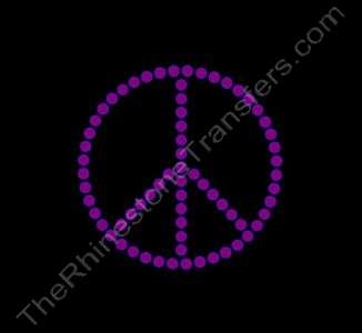 Peace Sign - 2 Inches - 1 Row of Stones - Amethyst - Rhinestone Transfer