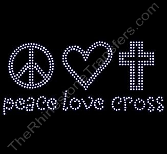 peace love cross - Rhinestone Transfer