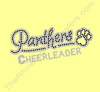 Panthers CHEERLEADER - with Paw Print - Small - Black - Rhinestone Transfer