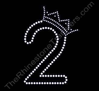 Number - with Crown - 2 - Small - Rhinestone Transfer