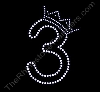 Number - with Crown - 3 - Small - Rhinestone Transfer