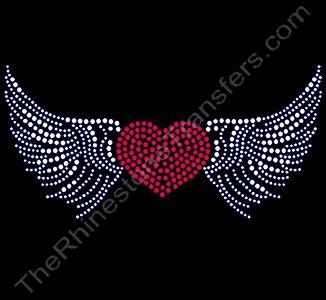 Filled Heart with Open Wings - CUSTOMIZE YOUR COLORS - Rhinestone Design File Download