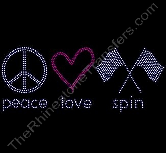 peace love spin - Rhinestone Transfer