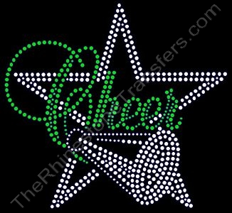 Cheer with Star and Megaphone - Green - Rhinestone Transfer