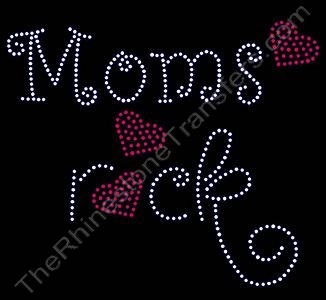 Rocks with Red Hearts - Moms rock - Rhinestone Transfer