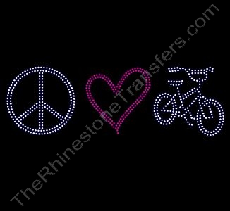 Peace Heart Bike - Rhinestone Transfer