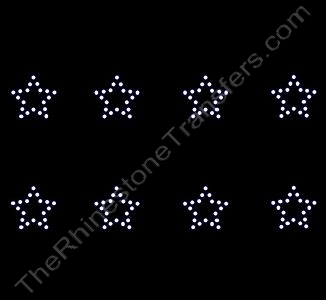 Petite Star - 1.1 Inches - ss10 Stones - 8 per Sheet - Rhinestone Transfer