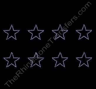 Petite Star - 1.5 Inches - ss6 Stones - 8 per Sheet - Rhinestone Transfer