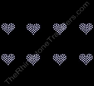 Petite Heart - 1.2 Inches - ss10 Stones - Clear - 8 per Sheet - Rhinestone Transfer