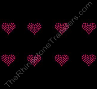 Petite Heart - 1.2 Inches - ss10 Stones - Red - 8 per Sheet - Rhinestone Transfer