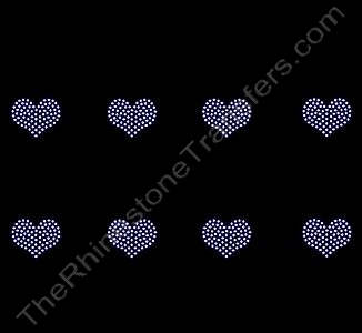 Petite Heart - 1.1 Inches - ss6 Stones - Clear - 8 per Sheet - Rhinestone Transfer