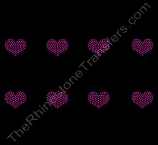 Petite Heart - 1.1 Inches - ss6 Stones - Red - 8 per Sheet - Rhinestone Transfer