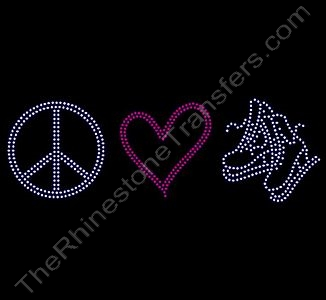 Peace Heart Ice Skates - Rhinestone Transfer