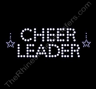 CHEER LEADER - 2 Lines - with a Falling Star on Each Side - Rhinestone Transfer