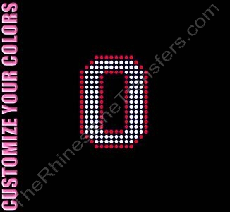 Varsity Number 0 - 2.7 Inches - with Outline - CUSTOMIZE YOUR COLORS - Rhinestone Transfer
