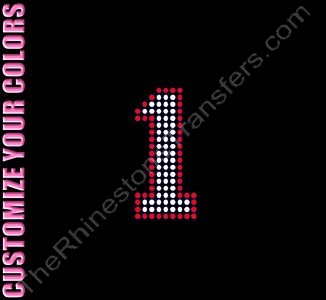 Varsity Number 1 - 2.7 Inches - with Outline - CUSTOMIZE YOUR COLORS - Rhinestone Transfer