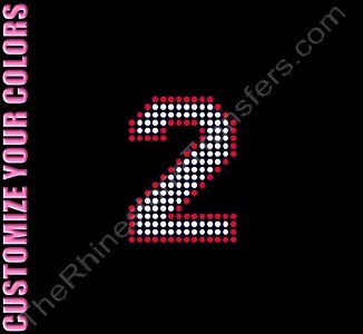 Varsity Number 2 - 2.7 Inches - with Outline - CUSTOMIZE YOUR COLORS - Rhinestone Transfer